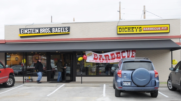 The two businesses share an entrance.