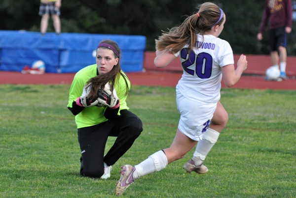 Abby Harper arrives just a second late as Kieran Uhlmansiek smothers the ball in the second half.