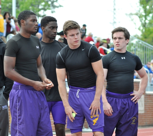 Jacob Clay (far right) is the only returner from last season's 400-meter relay team, which won third place at state. The others are (from left) Devon Couch, Justice Bratcher and Jake Zivic.