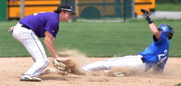 John Bischoff makes the tag on an MRH player at second base in the third inning.