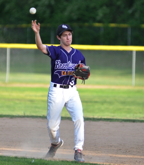 Chris Brown throws to beat the runner at first base.
