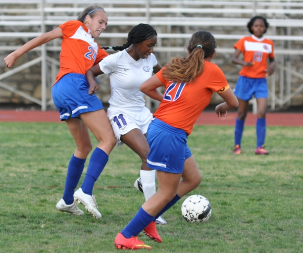 Cierra Lucas gets the ball away from a Valley Park player.