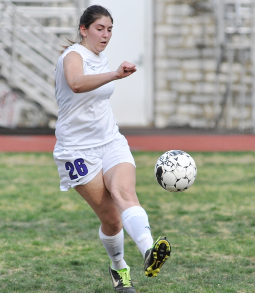 Megan Shipley kicks the ball.