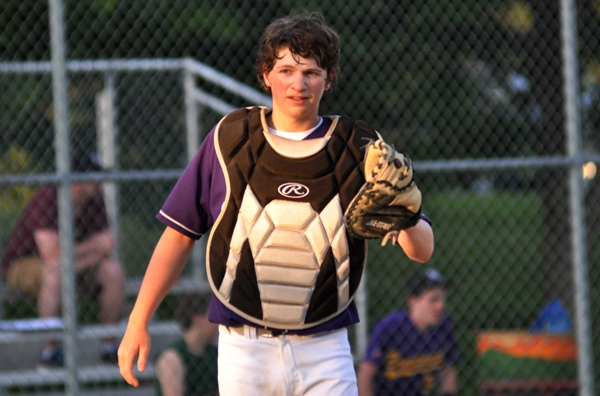 Hunter Brown-Scott after a play at home plate.