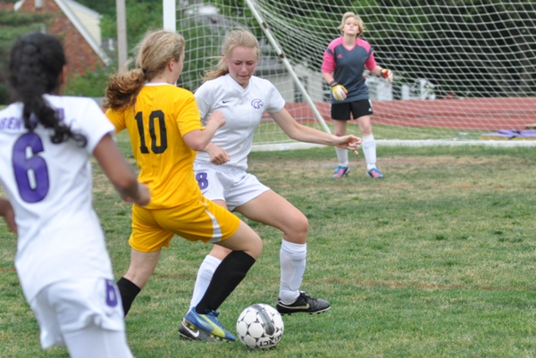 Anna Blomstrom is the last line of defense between U City and goalkeeper Audrey Brown.