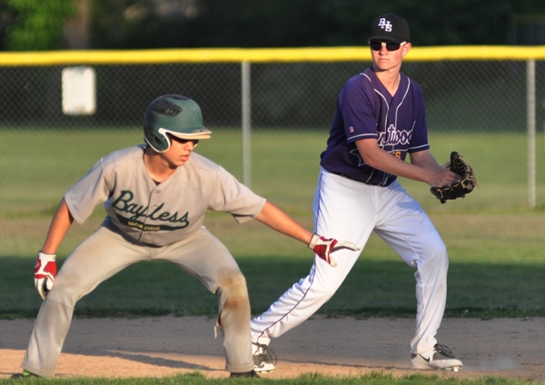 Blake Lawrence gets in position to receive a possible throw at second base from pitcher Luke Tilton.