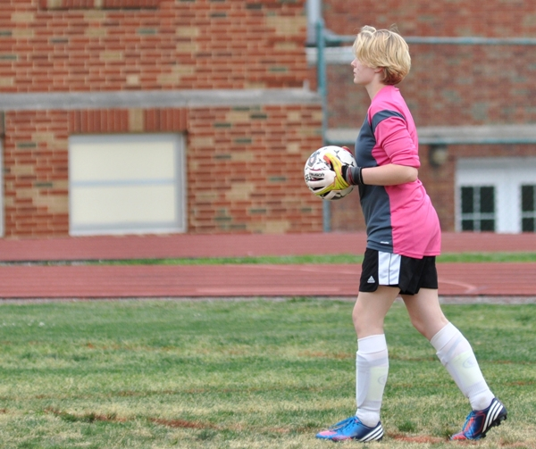 Audrey Brown looks for an open midfielder in the second half.