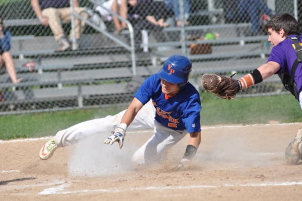 Brentwood catcher Stephen Suntrup tags out a Valley Park baserunner at home plate in the first inning.