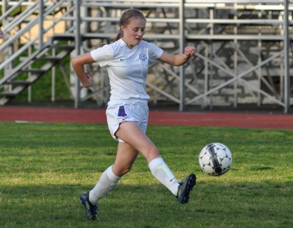 Julianna Nikodym controls the ball in the loss to Crossroads.