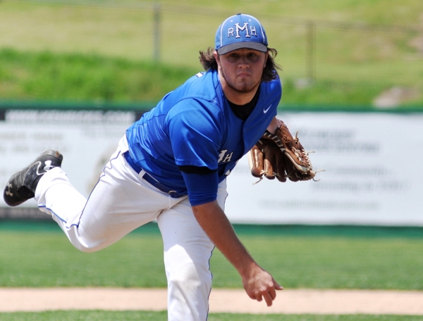 Blue Devils senior Zech Biship struck out 10 Brentwood batters and walked only three.