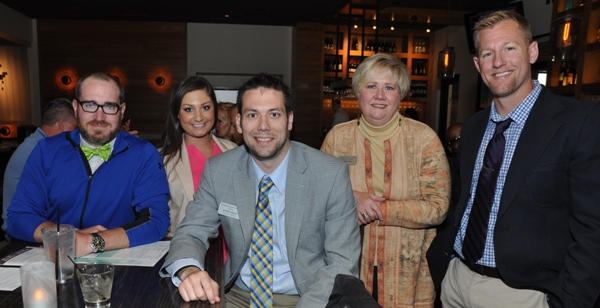 Those who attended the first gathering of the the Brentwood Young Professionals on May 20 at the Bonefish Grill are (from left) Joe Kasten of Spectrum Business, Jessica Kairy of Drury Hotels, Steven Pingolt of Country Financial, Gina March of the Brentwood Chamber of Commerce and Dan McMullen of Country Financial. (Photo by Steve Bowman)
