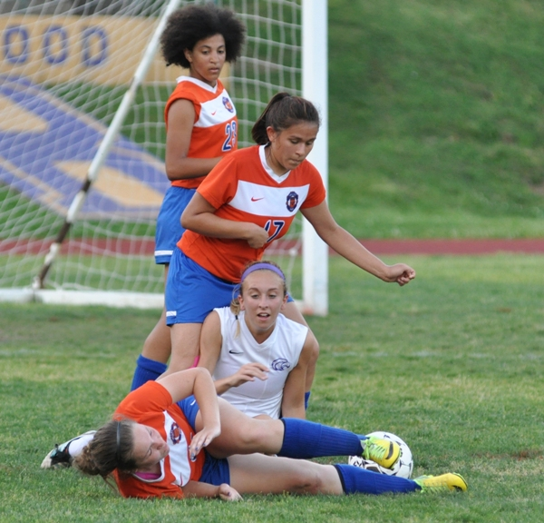 Kate Gilmore collides with a Valley Park player in the second half.