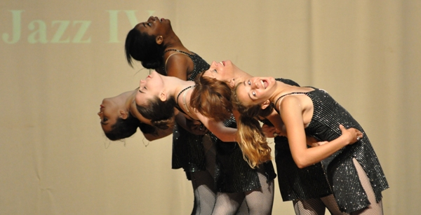 "Performing a dance to ""Diamonds Are a Girl's Best Friend"" are Pat Cleeland, Erika Wilson, Hannah Frankel, Mia Hicks-Thomas and Katie Howard. (Photo by Steve Bowman)"