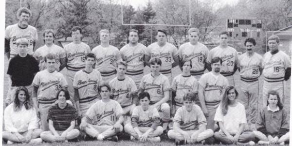 Here's the Brentwood High School baseball team in 1992, coached by Rich Niemann (back row, far left) and Jim Taylor