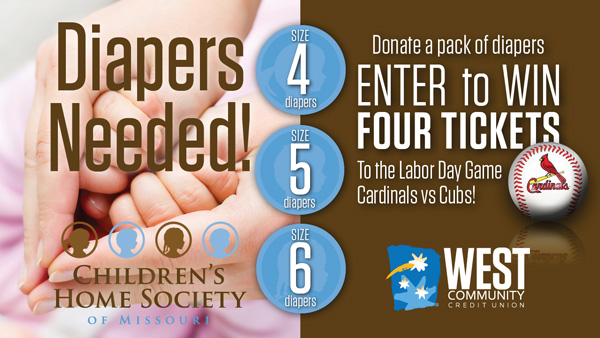 West Community Credit Union is holding a diaper donation drive for Children's Home Society.