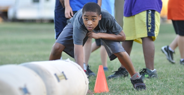 Josh Danfort gets set for a drill in last year's Junior Eagles mini-camp. (Photo by Steve Bowman)