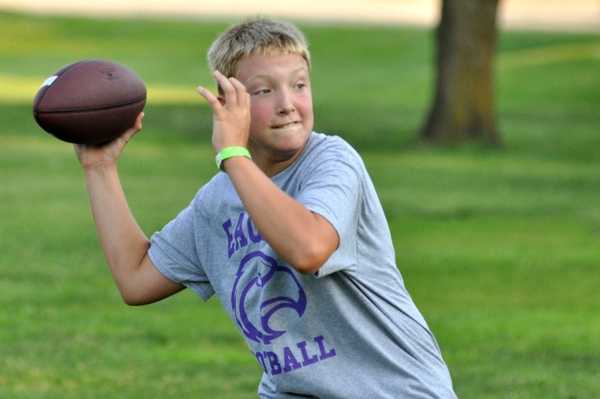 Michael Jones sees an open man. He's the leading contender for quarterback of the seventh-grade team.