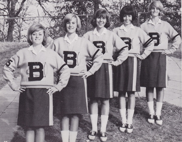 The 1965 varsity cheerleaders, left to right, are Jill McDale, Kay Wickiser, Stephanie Hartung, Nancy Schaper and Ellsa Adams. (Photo from 1966 BHS yearbook)