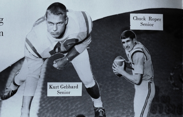 After graduating in 1968, Kurt Gebhard and Chuck Roper went on to play football at the University of Missouri. (Photo from 1968 BHS yearbook)