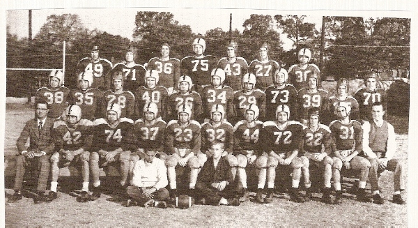 The 1953 varsity team is identified from left to right. FRONT ROW: Eddie Burns, Joe Stark. SECOND ROW: Head Coach John Lauer, Bob Cooper, Judson Jessen, Spencer Staples, Nip Litzsinger, Carlo Schweer, Mickey Davenport, Eddie McWilliams, Dave Keller, France Langan, Assistant Coach Ralph Scott. THIRD ROW: Norman Frossard, Ted Houston, George Kenney, Bud Stark, Ray Booker, Dick Pippert, Ron Seeger, Harold Mitchell, Dave Hahn, Corky Dederick, Farrell Mayhall. BACK ROW: Frank Hartung, Gordon Swor, Richard Zingre, George Light, Tom White, Arthur Obrock, Richard Blunt. (Photo from 1954 BHS yearbook)