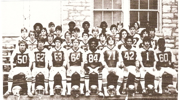 The 1979 team is identified from left to right. FRONT ROW: Buddy Howe, Jeff Moore, Terry Delgado, Carlo Marconi, D'Andre Strong, Rob Herrick, Phil Thompson, Mark Lombardo, Darrel Carr. SECOND ROW: Jim Featherston, Ken Jones, John Tolish, Scott Surgener, Steve Dayton, Kevin Meyers, Steve Suntrup. THIRD ROW: Steve Sutterer, John Ganahl, Rob Moore, Andy Lowe, Paul Janeway, Geri Moreno, Scott Oppelt, Pete Kelly. BACK ROW: Kevin Zayas, Todd Espey, Vincent Young, Allen Scales, Craig Reed, Tim Langan, Mike Jones, Darrell Smith. (Photo from 1980 BHS yearbook)