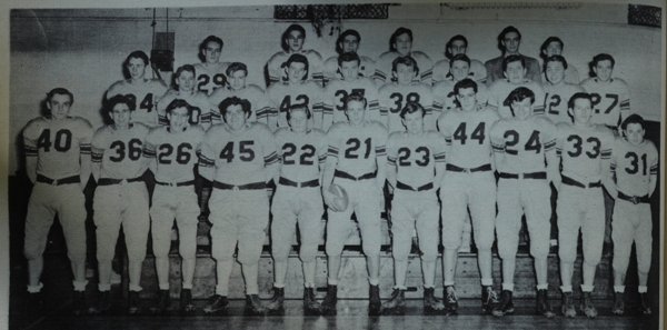 Brentwood High School's first football team, in 1947, is identified from left to right. FRONT ROW: Bill Thoelke, Stewart Kenney, Oliver Fischer, Frank Tallis, Bill Shaver, Tom Elliott, Clarence Sutterer, Don Oscarson, Al Preston, Carl Day, Kurt Herrmann. SECOND ROW: John Eschbach, Bill Ashlock, Bob Green, Bob Jones, Don Emerson, Charles Moritz, Russell Strong, Bob Schaperkoetter, Arnold Pierce, Bob Patty. BACK ROW: Eddie Ernhart, Joe Bowers, Richard Krech, Ted Short, Leon Hirsh, Assistant Coach John Behrens, Otis Lankford. Not pictured: George Baumstark, Clyde Damon. (Photo from 1948 BHS yearbook)