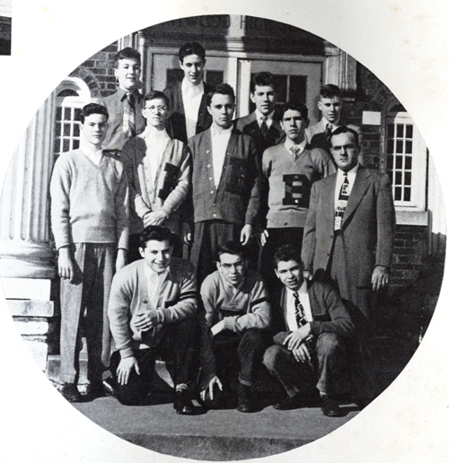 Brentwood's second head football coach, Bob Sweeney, poses with members of the Letter Club. Club members are identified from left to right. FRONT ROW: Kurt Herrmann, Don Dunham, Bill Ashlock. SECOND ROW: Bob Jones, Monte Shomaker, Arnold Pierce, Richard Krech, Bob Sweeney. BACK ROW: Ted Short, Bob Reiter, Bob Schaeperkoetter, Tom Bernero. (Photo from 1949 BHS yearbook)