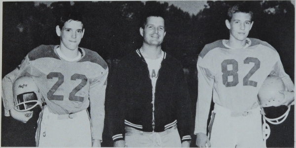 Freshmen coach Bill Long with his 1963 co-captains Doug Mackey (left), who went on to play at Southeast Missouri State, and Tom Moore, who became a movie star as Tom Berenger. It was Moore's only season with Brentwood. (Photo from 1964 BHS yearbook)