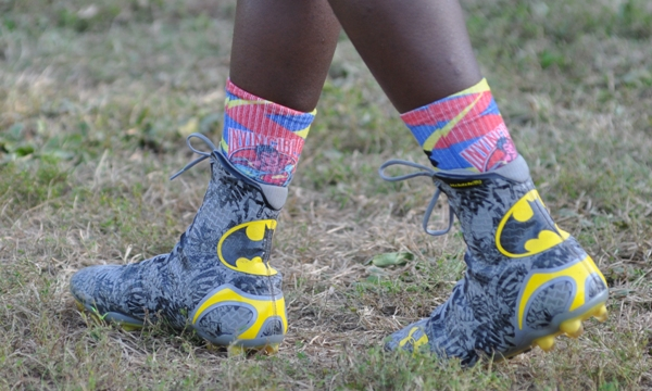 Chris Hill makes a statement with his shoes and socks.