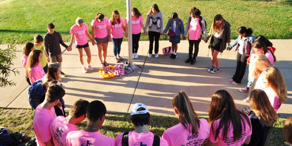 BHS students prayer around the school's flagpole at about 7:30 this morning, Sept. 23. (All photos by Steve Bowman)