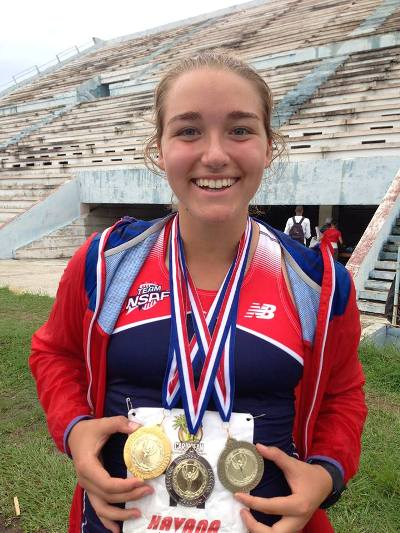 Sophia Rivera shows the medals she won at the meet in Havana, Cuba. (Photo courtesy of Michelle Hassemer)