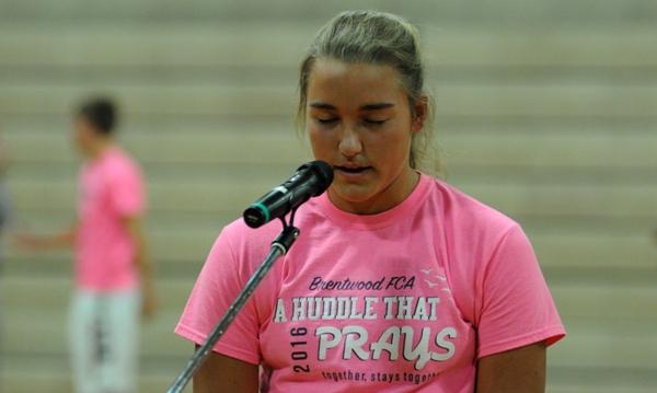 BHS senior Sophia Rivera says the closing prayer.