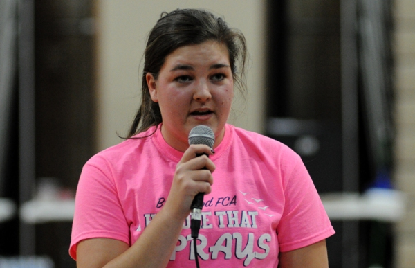 Brentwood High School senior and FCA huddle leader Claudia Jones tells the story of Josiah, who