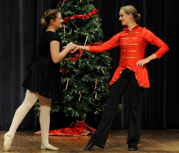Margaret Cleeland as Clara and Katie Howard as the Nutcracker Prince.