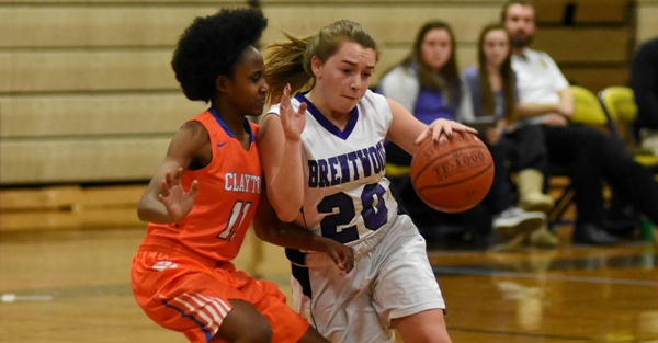Abby Harper drives to the basket against Clayton's Tyra Edwards on Jan. 11 at BHS. (All photos by Steve Bowman)