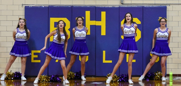"""The B""""HS cheerleaders perform during a timeout in the game with Crossroads."""
