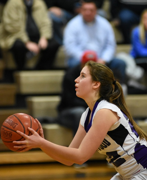 Gabby Gombas shoots a free throw in the Clayton game.