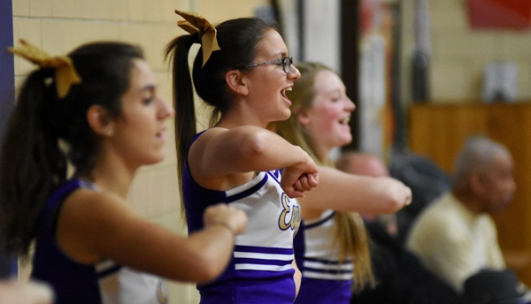 Cheerleaders perform at the Crossroads game.