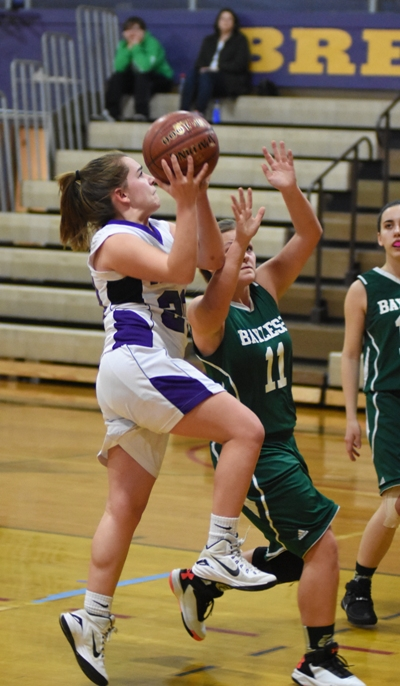 Abby Harper goes in for a layup.