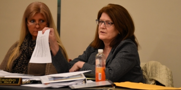 Ward 1 Alderwoman Maureen Saunders at a workshop to discuss the city's 2016 budget