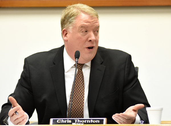 Mayor Chris Thornton oversees the board meeting on Tuesday.