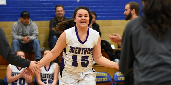 Maggie Callihan is introduced before the district playoff game against Kennedy on Feb. 22 at John Burroughs. (All photos by Steve Bowman)
