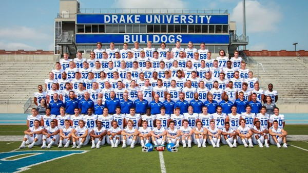 Here is the 2015 Drake University football team. It plays in the Pioneer Football League, which, unlike most other NCAA Division I FCS conferences, consists of schools that choose not to award athletic scholarships to football players. Led by third-year coach Rick Fox, the Bulldogs in 2015 went 5-6. They beat William Jewell College (Mo.), Stetson University (Fla.), Valparaiso University (Ind.), Jacksonville University (Fla.) and the University of Dayton, and lost to North Dakota, South Dakota, Campbell University (N.C.), the University of San Diego and Morehead State University (Ky.). Drake is a private university with about 5,300 students. (Photo courtesy of Drake University)