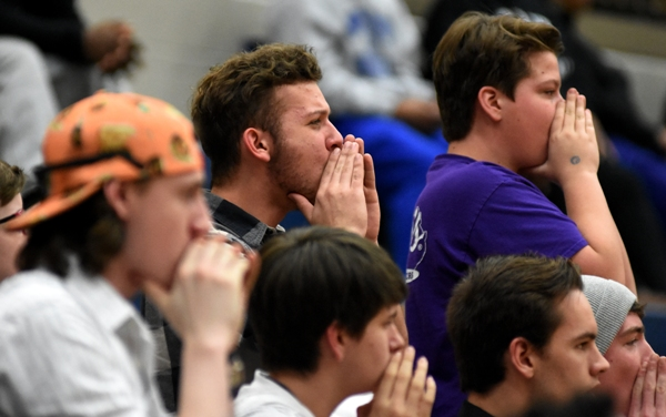 Brentwood fans boo their displeasure with a referee's call in the fourth period.