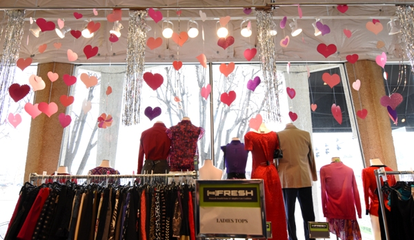 At the clothing resale boutique Refresh, 1710 S. Brentwood Blvd., love seems to literally float in the air above mannequins as they look out at passing traffic.