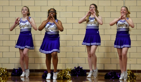 Brentwood's cheerleaders keep the energy high during a timeout.