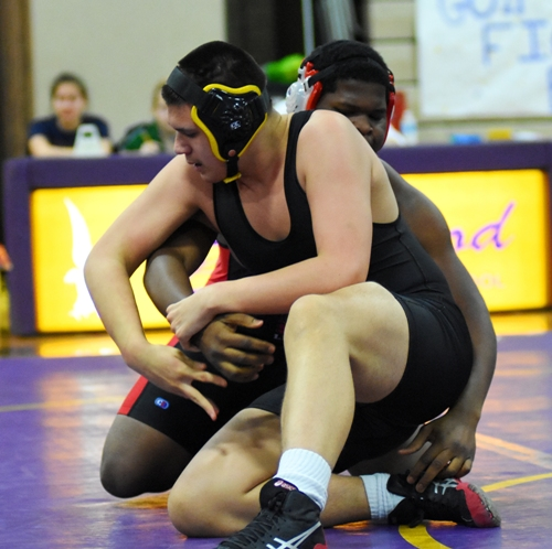 Donovan Obando moves to escape Kenneth Hall of Lift for Life.