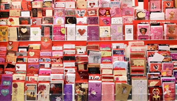 This is only part of the Valentine greeting card section at Dierberg's. (All photos by Steve Bowman)
