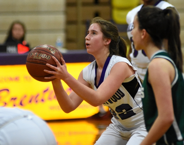 Gabby Gombas aims a free throw in the Feb. 8 Bayless game.