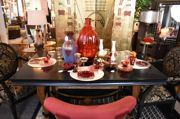 A Valentine-themed table setting at the Refind Room.